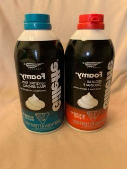 2 Pack Gillette Foamy Shaving Cream Regular & Sensitive Skin