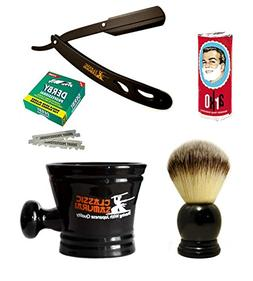 Classic Samurai Men's Shaving Set with CS-102 Matte Black Fo