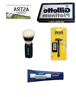 European Double Edge Shaving Kit - Wilkinson Razor, Boar Bru