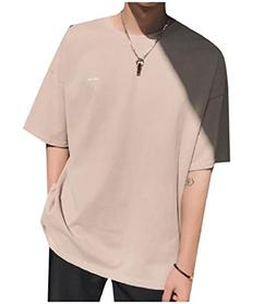 Mfasica Mens Stylish Solid Color Crew-Neck Short Sleve Top T