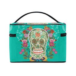 Sugar Skull Dia De Los Muertos Portable Travel Makeup Cosmet