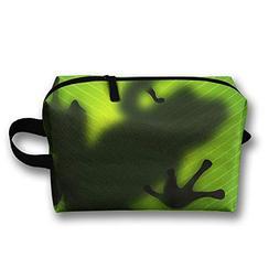 Amazon Rainforests Green Tree Frog Travel Large Makeup Bag T