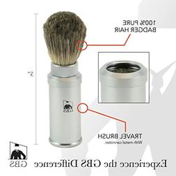 GBS 100% Pure Badger Bristle Travel Shaving Brush, Silver Gr