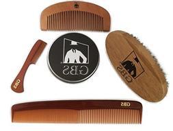 Beard Brush Comb Set - 4 Pieces- Premium Oval Wood Beard Bru