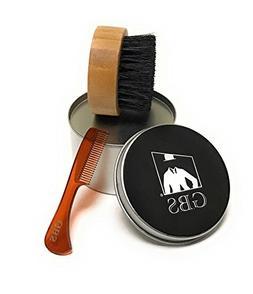 2 Piece Beard Grooming Set- Premium Compact Wood Beard Brush