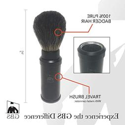 GBS 100% Genuine Badger Hair Travel Shaving Brush with Black