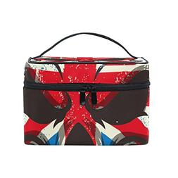 MaMacool British Flag Skull Cosmetic Bags for women Travel M