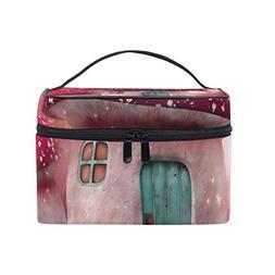 MaMacool Cartoon Red Mushroom House Cosmetic Bags for women