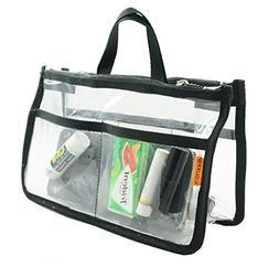 Clear Handbag Organizer See Through Cosmetic Badget Insert P