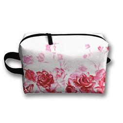 Travel Clutch Bag Red Ink Rose Cosmetic Case Organizer Bag F