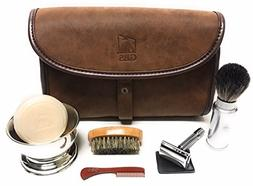 GBS Men's Deluxe Dopp Travel Shaving Set - Comes with Travel