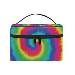 MaMacool Dye Tie Spiral Print Large Cosmetic Bag Travel Make