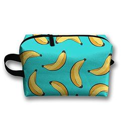 AZNM Falling Banana Travel Large Makeup Bag Train Case Toile