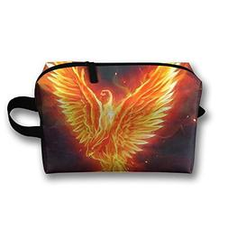 AZNM Flame Phoenix Travel Large Makeup Bag Train Case Toilet