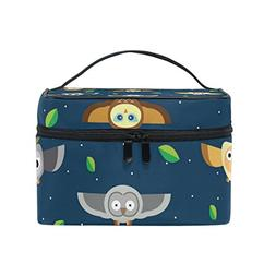 MaMacool Flying Owls At Night Print Large Cosmetic Bag Trave