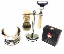 GBS Men's Grooming Set with Ivory 5 Blade Razor, Best Perfec