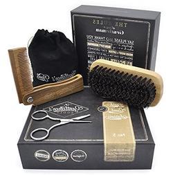 Hair & Beard Comb + Brush + Scissors - Set - for Men, Sandal