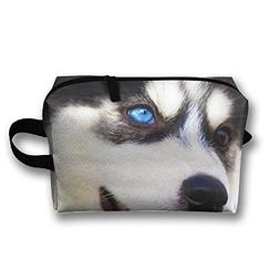 AZNM Happy Husky Travel Large Makeup Bag Train Case Toiletry