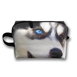 AZNM Happy Husky Travel Large Makeup Bag Train Case Toiletry