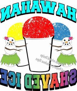 "Hawaiian Shaved Ice Vinyl Decal 14"" Shave Concession Cream F"