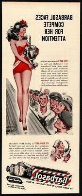 1944 BARBASOL Shaving Cream - 4 Pin-Up Girls Saluting - WWII