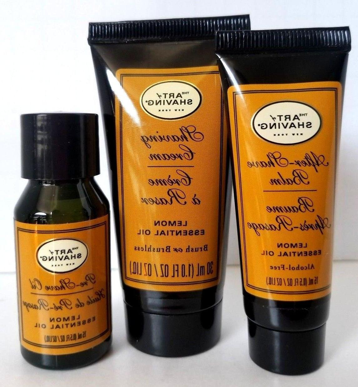 3 SHAVING Lemon Oil Shaving Pre-Shave Tra Set