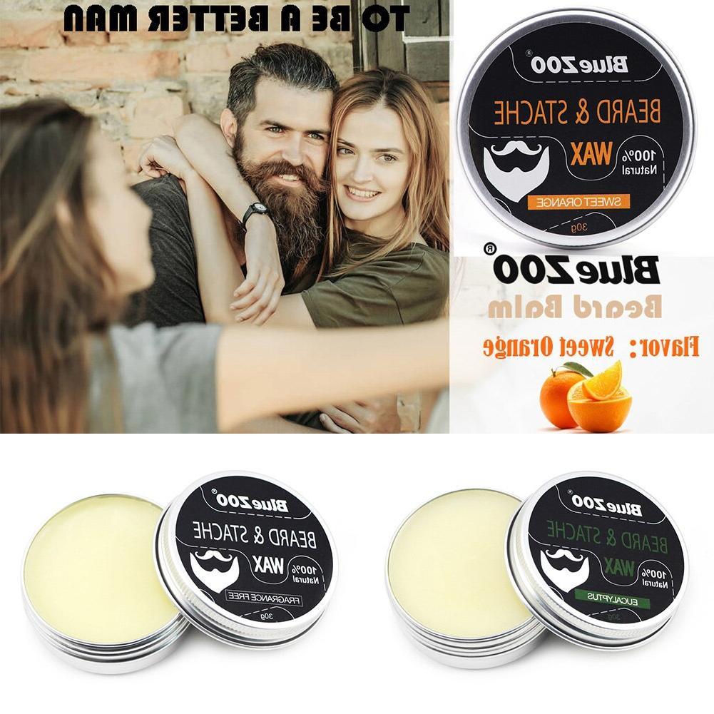 30g Men Natural Fragrant Nourish Mustache Wax Thicken <font><b>Unscented</b></font> Beard Balm Box-packed Care