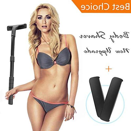 Removal Stretchable Handle Hair - Includes 2 Safety Blades Best Body Grooming Kit Personal Painless Body Trimmer Men