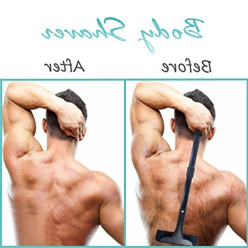 Back Removal - Stretchable Handle Hair Razor - Safety Body Grooming Personal Trimmer for