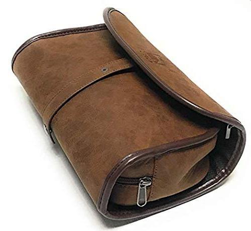 Merkur Deluxe Dopp Kit - #23001 Edge Chrome comes GBS Block Leather Toiletry Bag