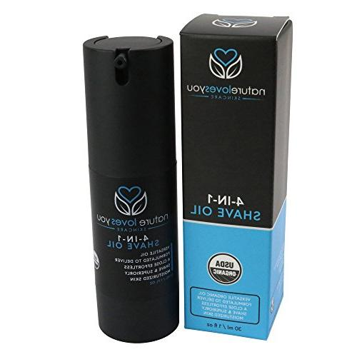Nature Loves You Skincare, 4-in-1 Shave Oil, 1 fl , USDA Organic works Beard Oil, Aftershave Moisturizer