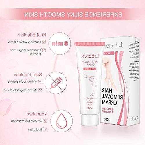 Hair Removal Cream Liberex Women Mens Premium Depilatory Cream Flawless Fast for Legs 3.52 oz
