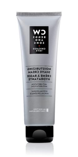 CW Beggs and Sons Moisturizing Shave Cream for Men, Hypoalle