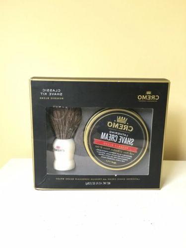 NIB Cremo Shave Kit Reserve Shave Horsehair Brush.