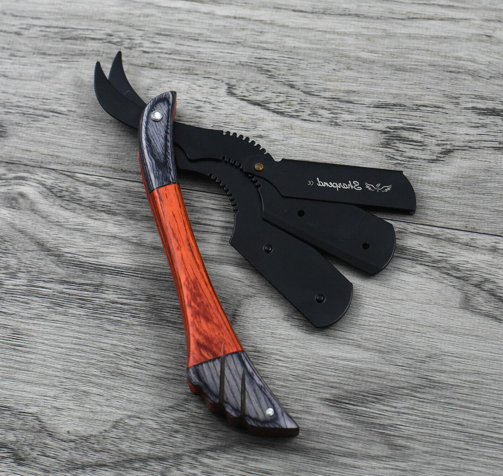 Wood Handle Straight Barber Hair Folding Knife +10 New