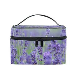 MaMacool Lavender Flower Print Large Cosmetic Bag Travel Mak