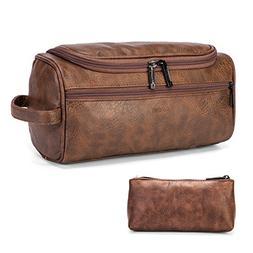 Amzbag Leather Toiletry Bag Travel Toiletry Organizer Portab