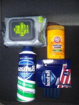 Men's shaver's, shaving cream, wipes, and deodorant