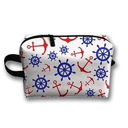Navy Anchor And Rudder Travel Large Makeup Bag Train Case To