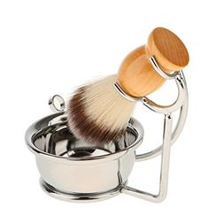 MagiDeal Professional Nylon Hair Shaving Brush+ Alloy Stand