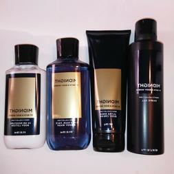 Set of 4 Bath and Body Works Mens Midnight Cream Lotion Shav