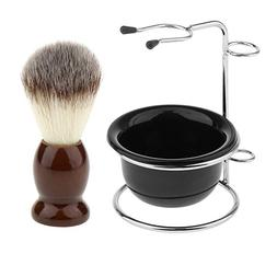 MagiDeal Men Shaving Brush + Stainless Steel Holder Stand +