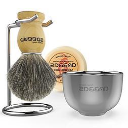 Shaving Brush Set, 4in1 Anbbas Fine Badger Shave Brush Wood
