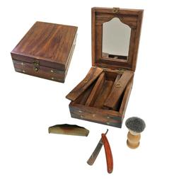 Shaving Kit Mirrored Colonial Traveling Wood Box Set with Ra