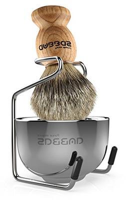Shaving Set, 3in1 Pure Badger Hair Shaving Brush Natural Sol