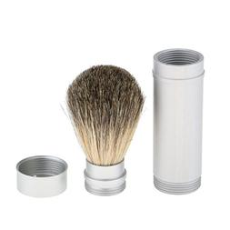MagiDeal Silver Shaving Brush in Travel Tube Beard Moustache