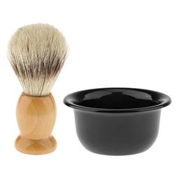 MagiDeal Soft Salon Barber Bristles Shaving Brushes with Pla
