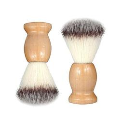 Bestgle 2Pcs Synthetic Men Shaving Brush with Hard Wood Hand