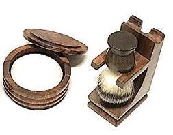 Men's Wood Shaving Bowl and Brush Set - Razor & Brush Stand