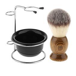 MagiDeal Wood Shaving Brush + Stainless Steel Holder Stand +